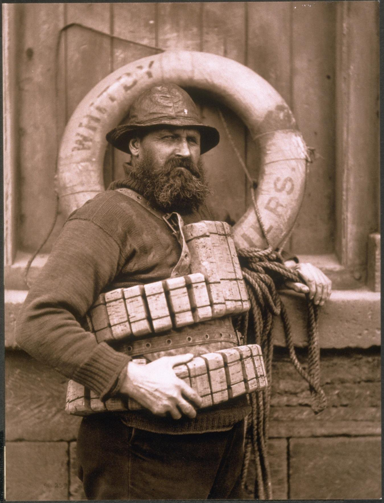 Whitby Lifeboat Man Henry Freeman in cork vest